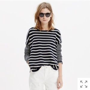 Madewell Striped Curved Hem Sweater